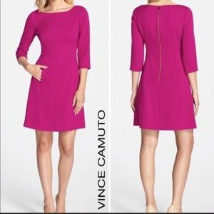 Vince Camuto , Hot pink A line Crepe Dress